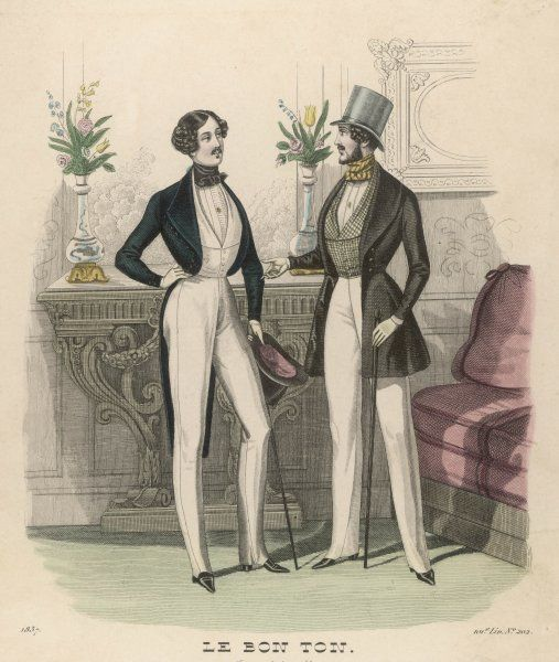 Pinched waists, heeled boots, strapped pantaloons, waisted jacket with roll collar, waistcoats cut to reveal the shirt front, cravats, cut-away coat with long tails & top hats
