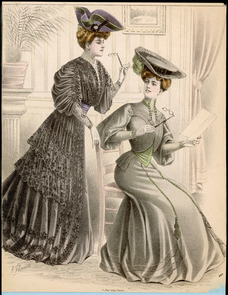 Costumes with tablier skirts & sleeves that are full on the upper arm. One has a bolero style jacket bodice, the other lace flounces. Hats: tricorn hat with rosette, large flat hat