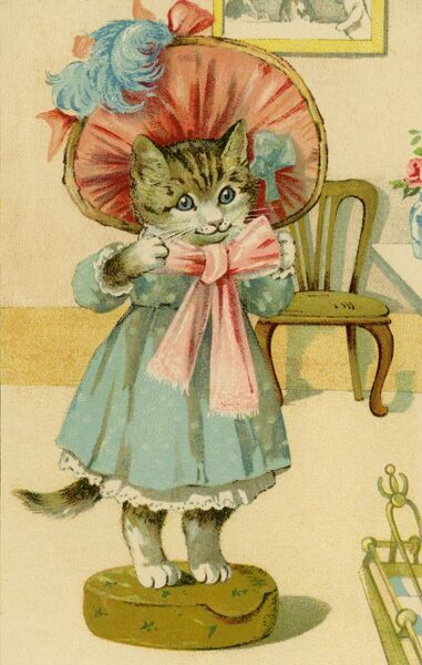 Fashionable kitten by gh Thompson. George Henry Thompson (1859-1959) specialised in illustrating humorous animals. He was also a landscape painter. This image in books and postcards by Ernest Nister. Date: circa 1904