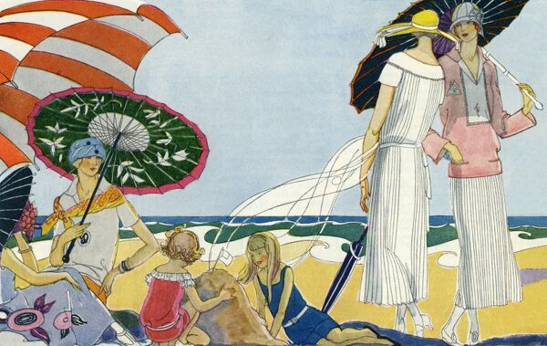 Fashionable ladies on the beach. Illustrator Anon. From a contemporary colour advertisement. Date: 1926