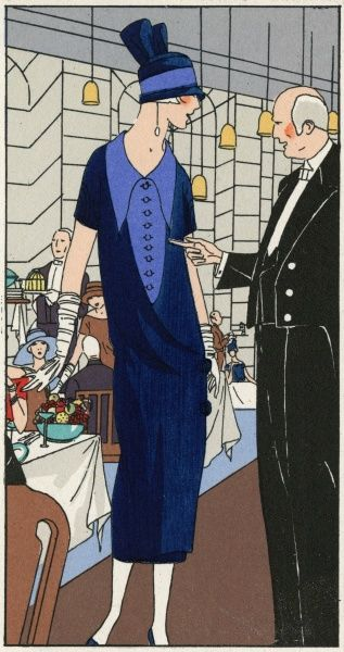 Fashionable lady in an outfit by Philippe et Gaston, in blue serge with darker blue crepe, and a matching two-tone hat.  1924