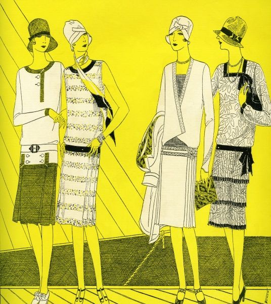 Fashionable women 1927. Illustrator Anon. From a contemporary colour editorial. Date: 1927