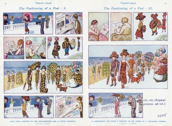 Humorous sequential illustration by David Ghilchik poking fun at the merry-go-round of fashion. A smart, trend setting society lady is photographed in the latest fashion - leopard skin - at a Riviera resort. As her picture appears in the society magazines