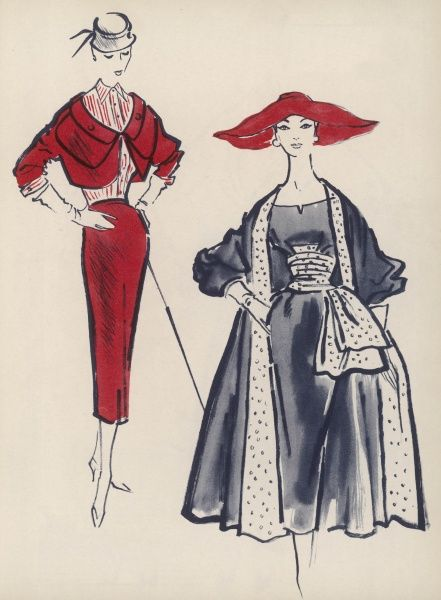 Two designer outfits for 1954. On the left, a tan dress and bolero lined with coral. On the right, a black Spanish style alpaca coat and dress from Digby Morton, the coat having a wide turn back, the dress a swaggering corselet of grey