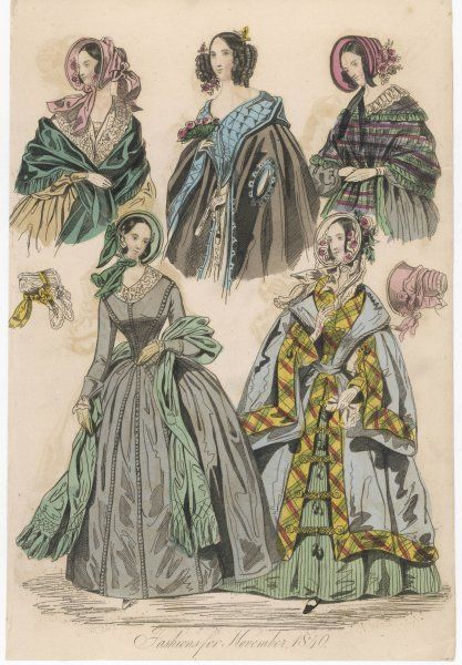 Dress with vertical detailing on the bodice & skirt, various capes & mantles: sleeveless opera mantle with armholes & a hood; tartan edged pelisse mantel