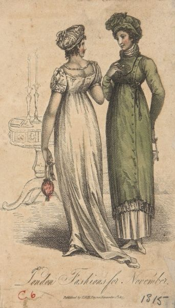 Early 19th century fashion plate showing the typical Classical outline, and high waists fashionable of the period