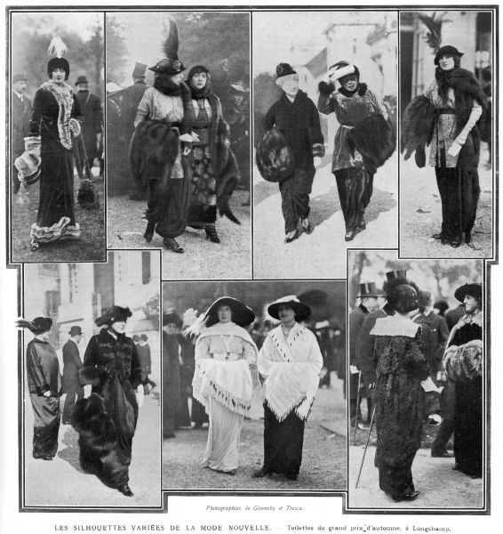 A variety of modish outfits and silhouettes fashionable in 1912, on display at the autumn Grand Prix at Longchamp