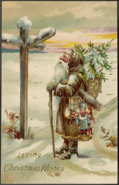 Father Christmas stands at the crossroads and contemplates which direction to turn