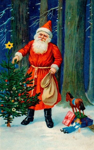 Father Christmas decorates a Christmas tree in the middle of a wood before going to deliver his presents to children