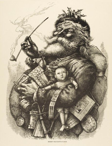 A pot-bellied Father Christmas with lots of presents