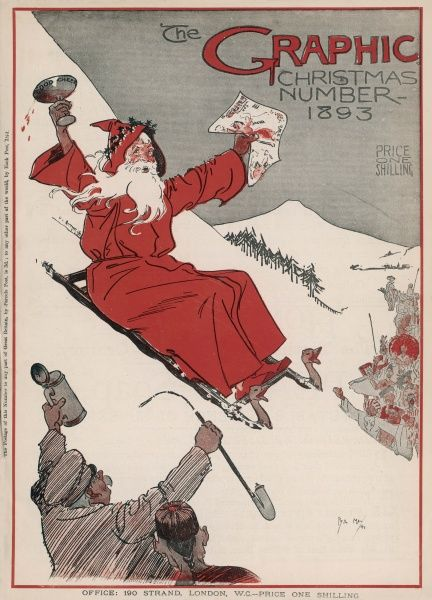 Father Christmas ringing a bell as he sleighs down a hill