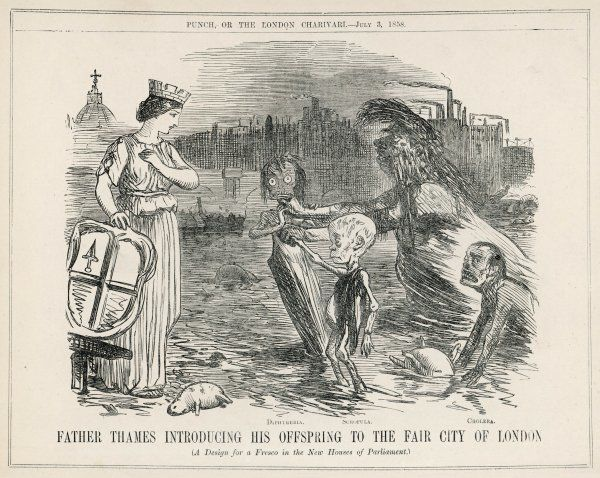 Father Thames introducing his offspring to the fair city of London ; diphtheria, scrofula and cholera