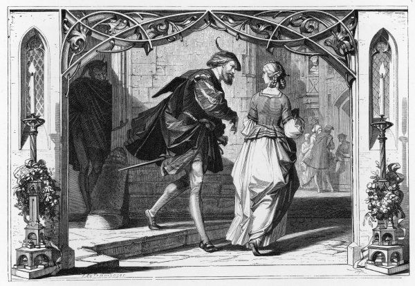 Faust and Marguerite watched by Mephistopheles