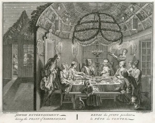 The Jewish Feast of TABERNACLES celebrated in the decorated home with festive food and drink