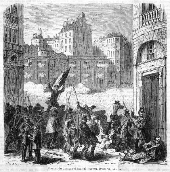 Street fighting between republicans and the government at the Chateau d'eau, Paris