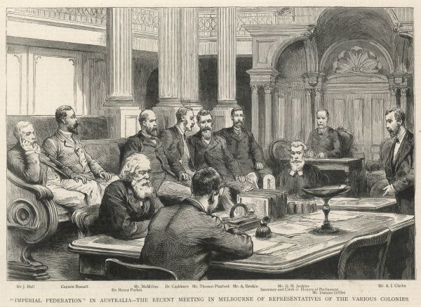 "A meeting in Melbourne of representatives of the various colonies of Australia to discuss ""Imperial Federation"" where the six separate British self-governing colonies of New South Wales, Queensland, South Australia, Tasmania, Victoria"