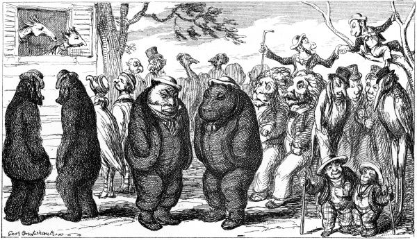 'Fellows of the Zoological Society' by George Cruikshank. Cruikshank pairs the fellows up with their look-a-like animal. Date: 1851