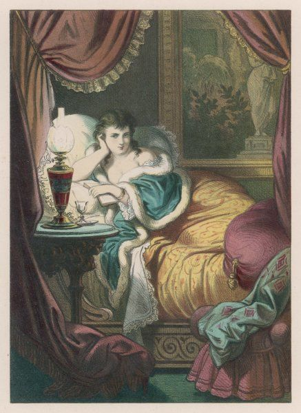 A woman in bed alone with a book. She wears a shawl of blue with a white fur trim