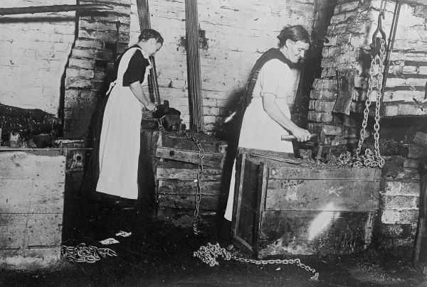 German women blacksmiths at work. Date: early 1930s