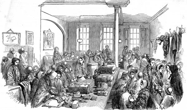 Engraving showing the main room of the Female Emigrant's Home, Hatton Garden, London, 1853