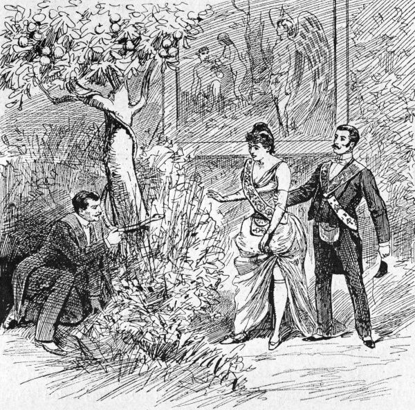 A candidate is initiated as a Companion : in a bush which represents the Garden of Eden, she strokes the serpent, bites the apple and submits to the reproaches of her guide. Date: 1891