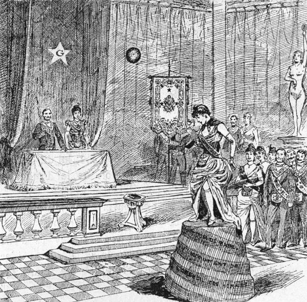 A candidate is initiated as a Mistress : blindfolded, she is placed on the Tower of Babel, much to her confusion when the blindfold is removed. Date: 1891