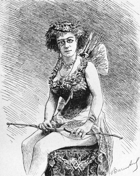 Sister Frederic (born Cherbourg 1867) initiated into the Lodge of the Perfect Female Mason, dressed as Cupidon for a mysterious ritual. Date: 1891
