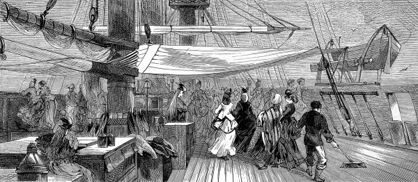 Engraving showing the well-dressed female passengers, in bustles and shawls, of the emigrant ship 'Indus', 1872. This image shows the women taking exercise on deck of the ship during the long passage from Britain to Australia