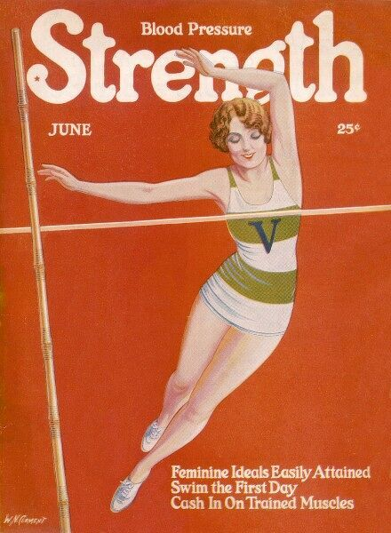 An elegant woman soars towards the bar during a pole vault