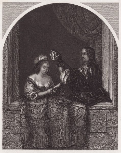 A singer at a window is accompanied by a man playing a stringed instrument. Date: 17th century