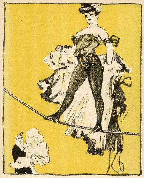 A French woman tightrope walker in showy garb