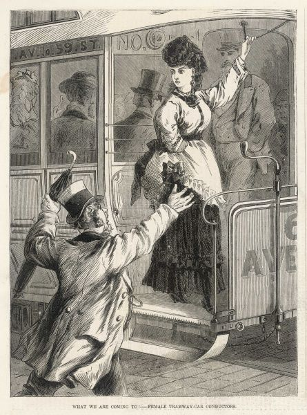 A female tramway car conductor in a western American city. A man, in a hurry to get on board, looks rather shocked to see her