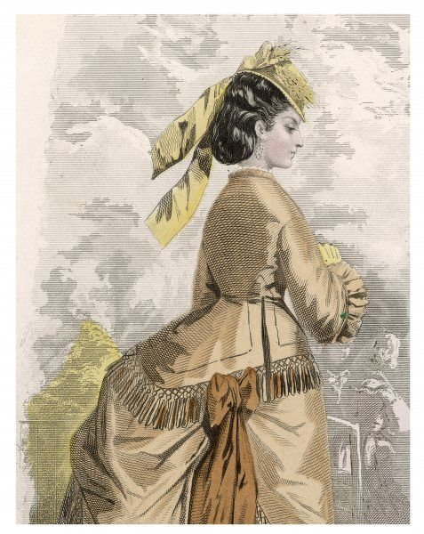 Close-up detail of a jacket bodice with fringed basques, narrow stand collar & funnel sleeves. Her hair is dressed in a chignon with a small straw hat worn tilted forward