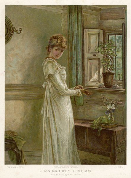 """Grandmother's Girlhood"": a demure young woman in a white dress"