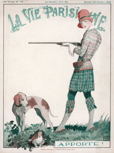 An attractive young woman in pursuit of her man, with the help of a gun and a dog