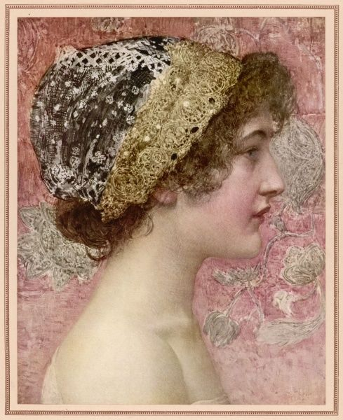 A pretty young woman in a lace cap