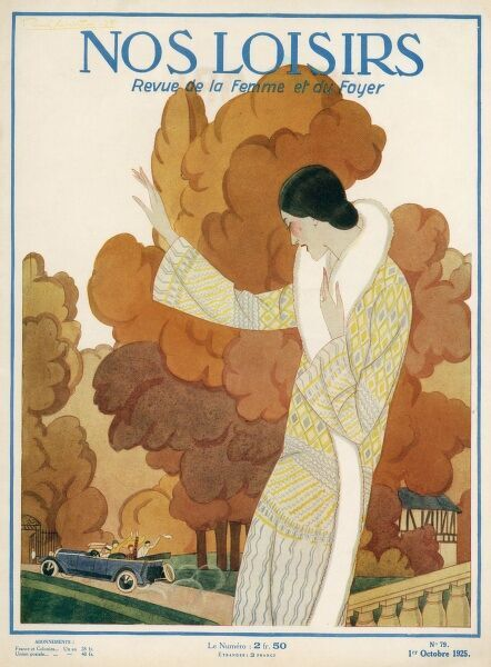 An elegant lady in an autumn setting. Date: 1925