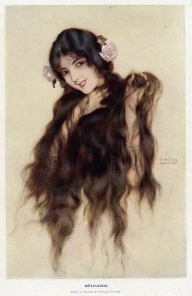 Melisande, with her long hair (a reference to Pelleas et Melisande, Maeterlinck's play, and Debussy's opera). Date: 1916