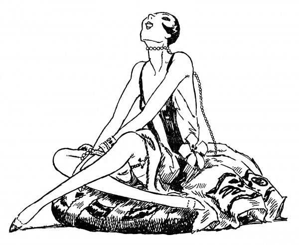 A sophisticated flapper type sitting on a cushion