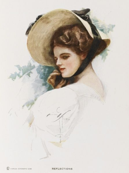 A reflective young woman in a straw bonnet