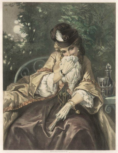 'J'tiens mon Anglais' A coy lady hides behind her handkerchief