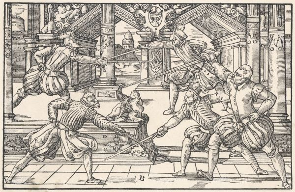 Several men fence in palatial surroundings