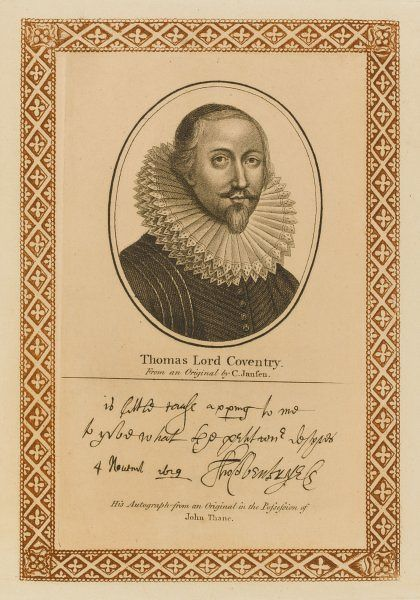 THOMAS lord COVENTRY statesman, attorney-general with his autograph