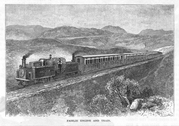 FESTINIOG RAILWAY - Fairlie engine pulls train
