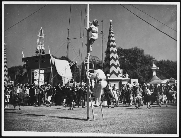 Acrobats at the Lakeside Stage, entertaining visitors to Battersea Festival Pleasure Gardens during the Festival of Britain celebrations