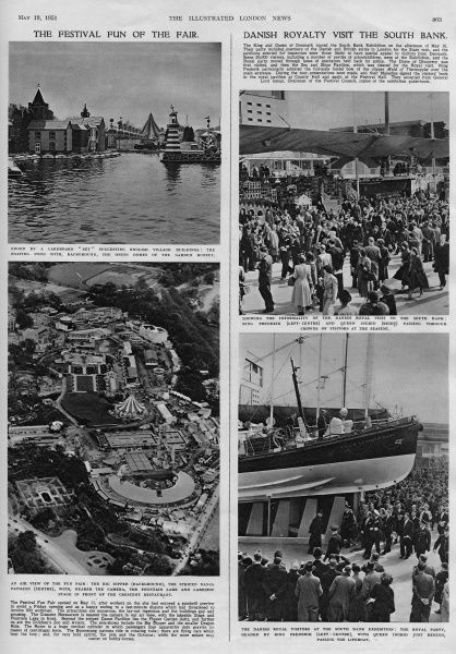 Views of the Festival of Britain (South Bank) and Fun Fair (Battersea). Top left is the boating pond with a cardboard 'set' suggesting English village buildings. Bottom left is an aerial view of the Fun Fair, with big dipper in the background