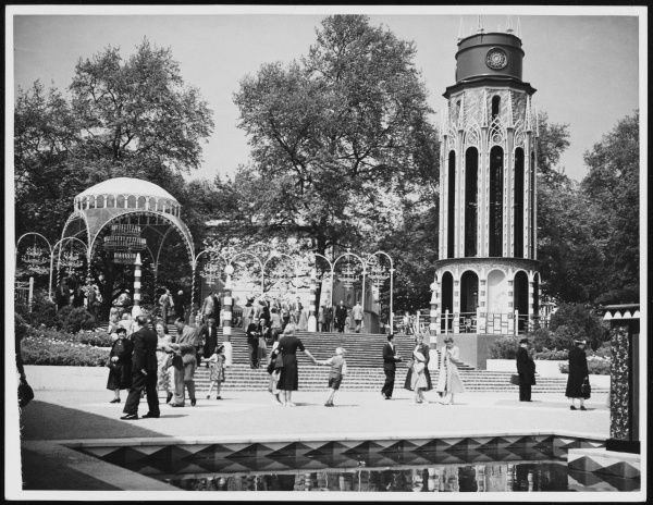 Visitors around the steps to The Parade at the Festival Pleasure Gardens, Battersea, part of the Festival of Britain celebrations