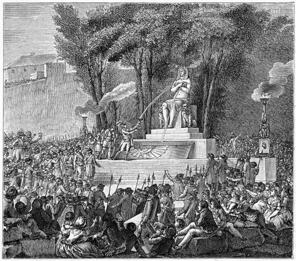 A statue in the Egyptian style represents Nature, the mother of humanity, in a festival on the site of the Bastille. Not that the Revolution has any pretensions to religion