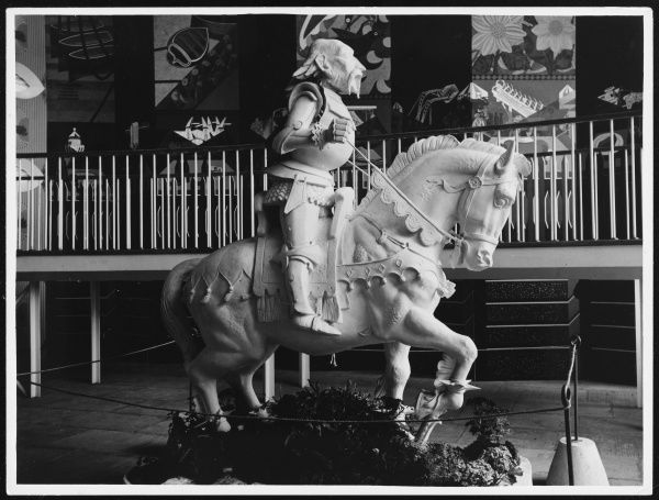 "The ""White Knight"" (with the morale raiser on his back) in the Lion and Unicorn Pavilion (symbolising British action and imagination respectively), at the South Bank Exhibition"