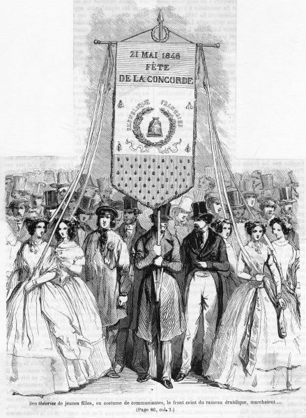 Garlanded girls carry banners at the Fete de la Concorde : all is sweetness and light - but the revolution is only weeks away